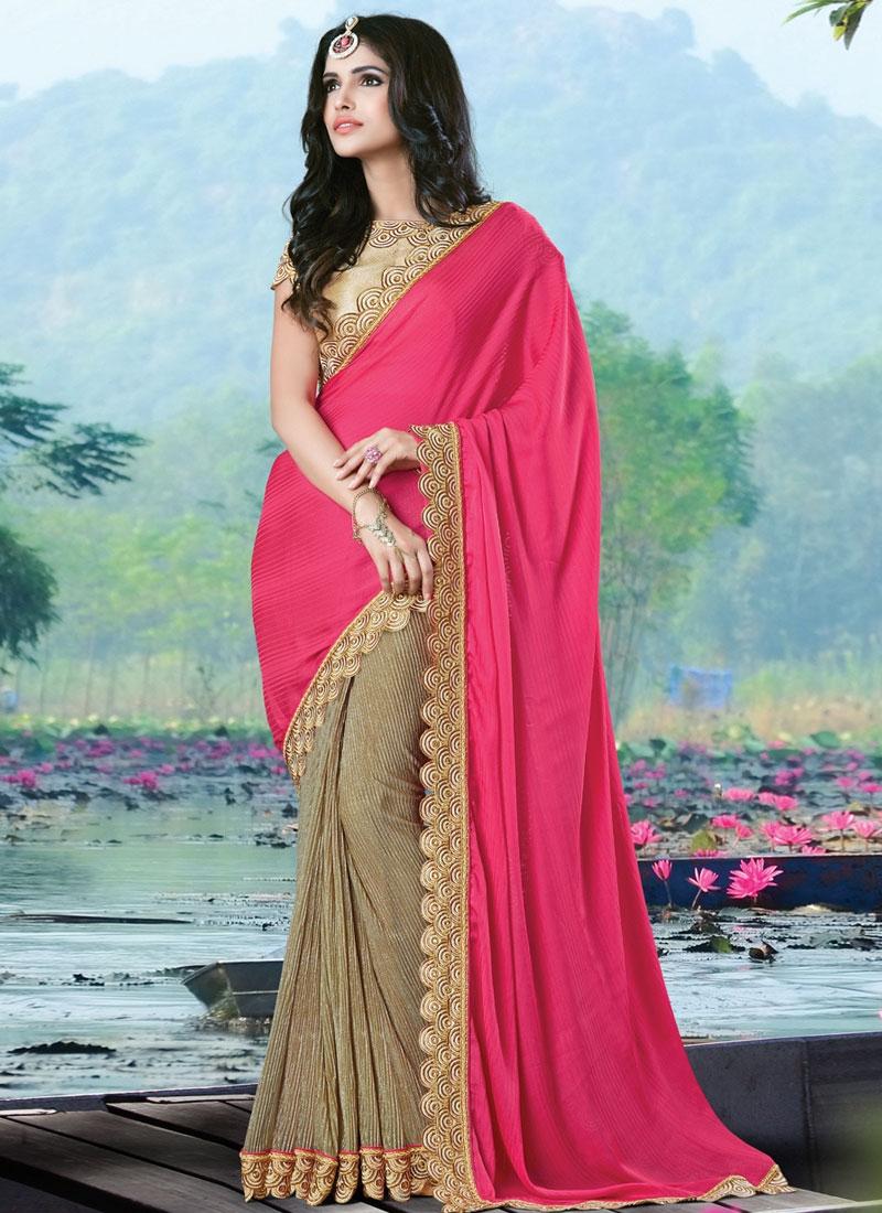 Spellbinding Silk Georgette Half N Half Designer Saree