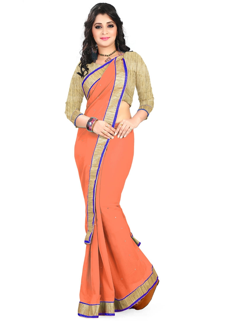 Spellbinding Stone Work Faux Georgette Casual Saree
