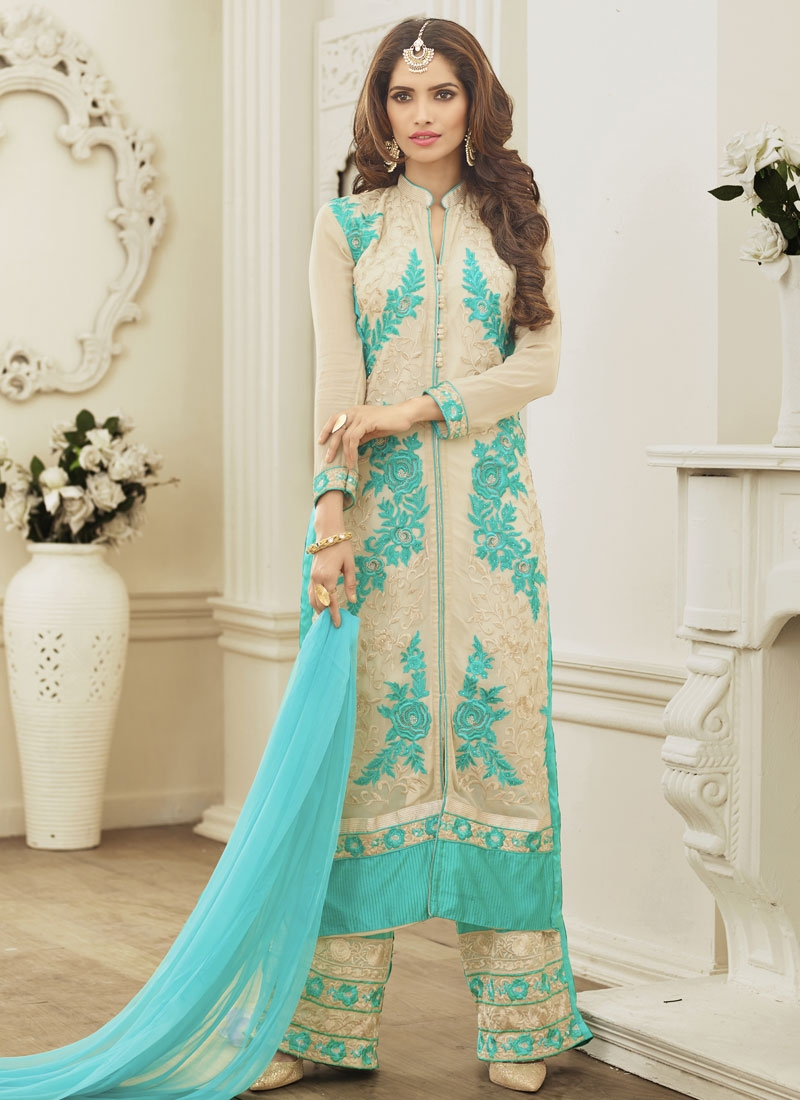 Spellbinding Stone Work Pant Style Party Wear Suit