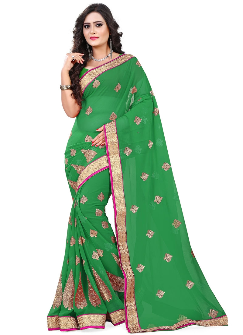 Spellbinding Stone Work Party Wear Saree