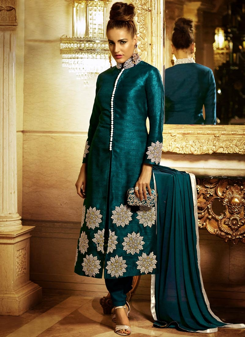 Spellbinding Teal Color Zari Work Pant Style Designer Suit