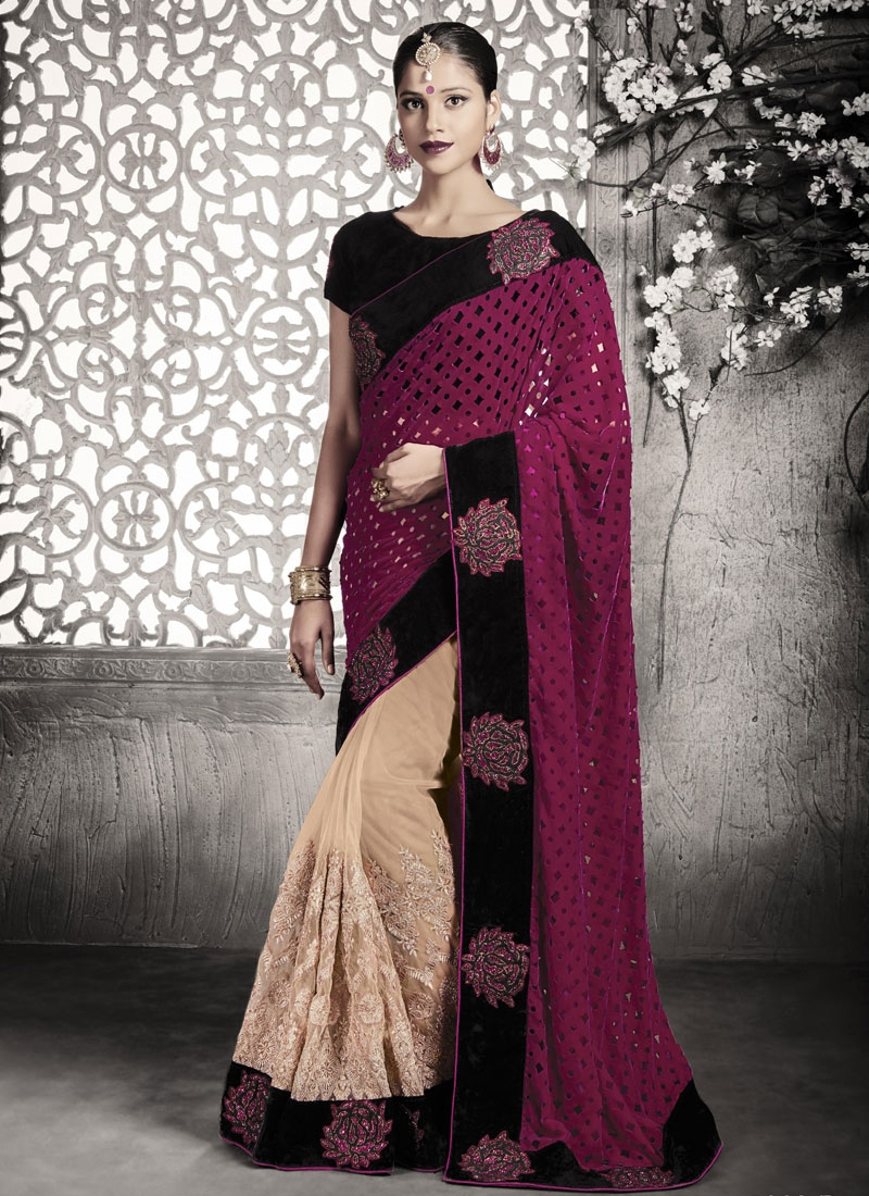 Spellbinding Velvet Booti Work Half N Half Wedding Saree