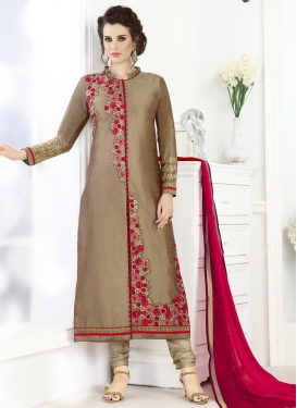 Splendid Art Silk Churidar Designer Suit For Ceremonial