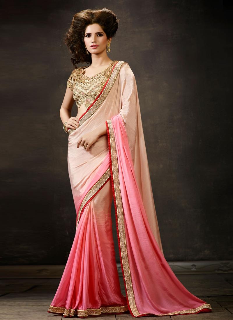 Splendid Beads Work Satin Designer Saree