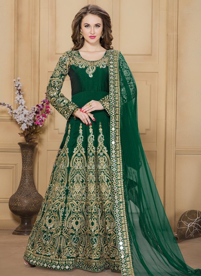 Splendid Booti Work Tafeta Silk Long Length Anarkali Salwar Suit