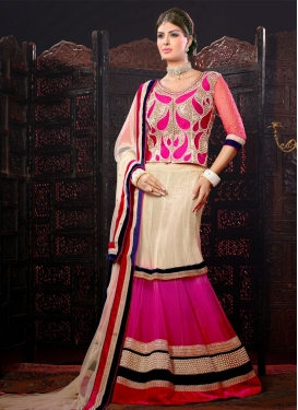 Splendid Cream And Rose Pink Color Designer Lehenga Choli