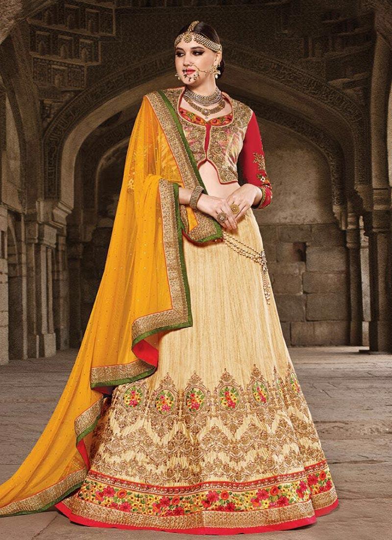 Splendid Floral Work Silk Bridal Lehenga Choli