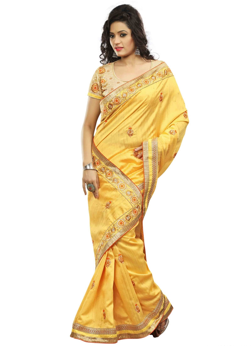 Splendid Gold Color Bhagalpuri Silk Party Wear Saree