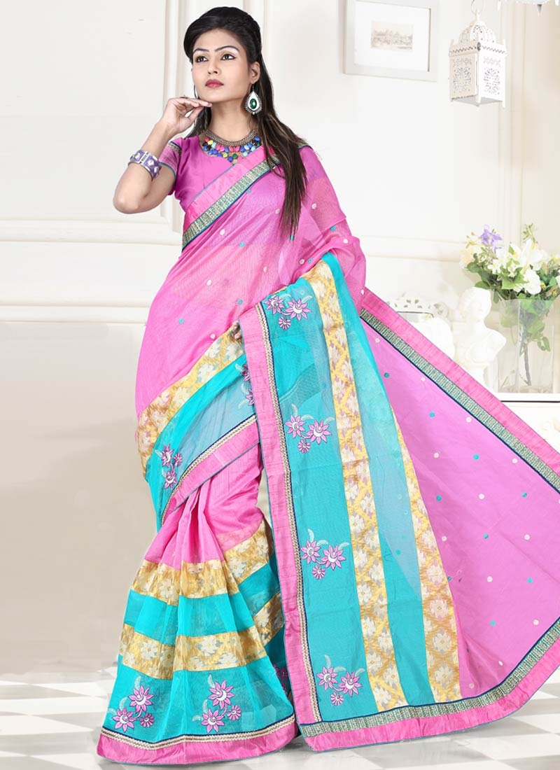 Splendid Hot Pink Color Booti Work Party Wear Saree