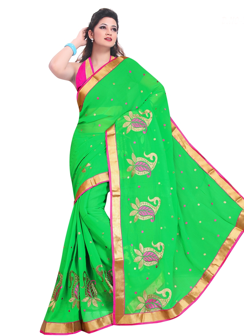 Splendid Lace Work Faux Chiffon Casual Saree