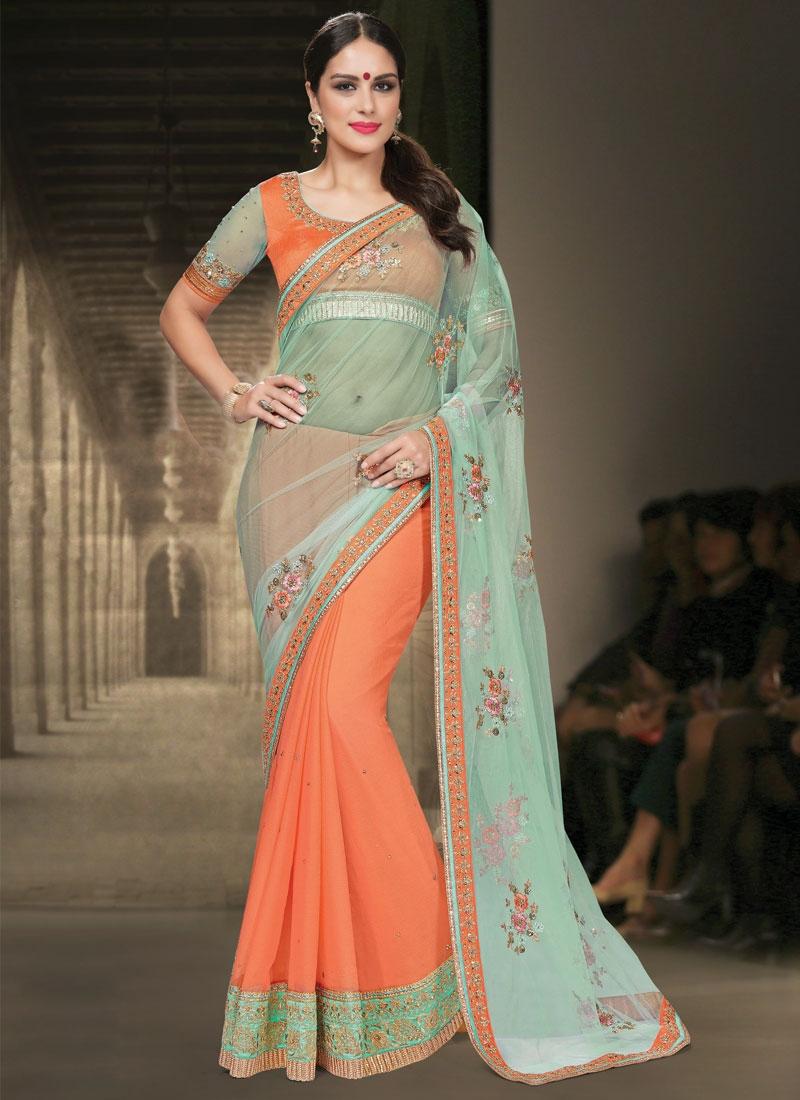 Splendid Net Stone Work Half N Half Designer Saree
