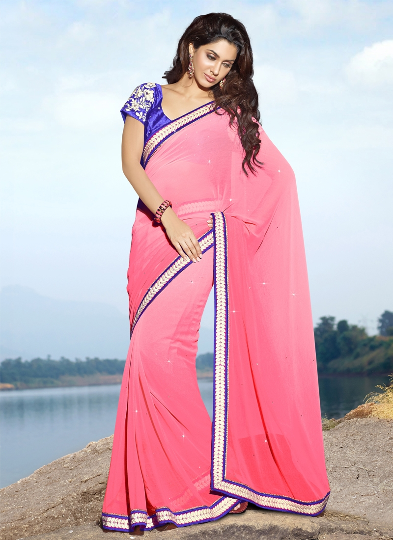 Splendid Pink And Blue Casual Saree