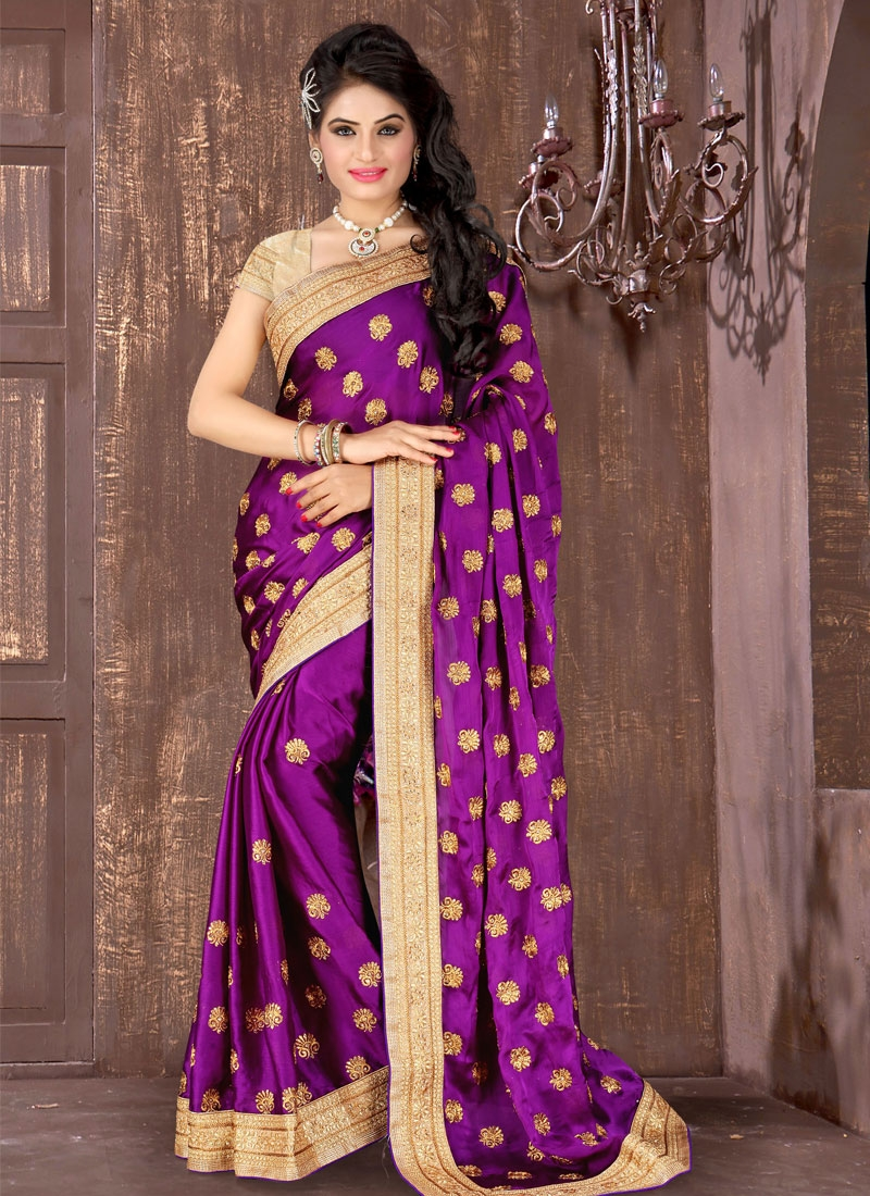 Splendid Purple Color Chiffon Satin Designer Saree