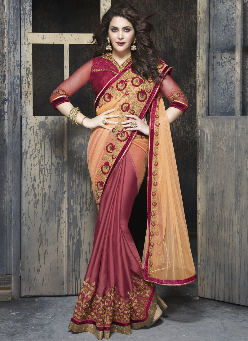 Splendid Resham And Lace Enhanced Half N Half Party Wear Saree