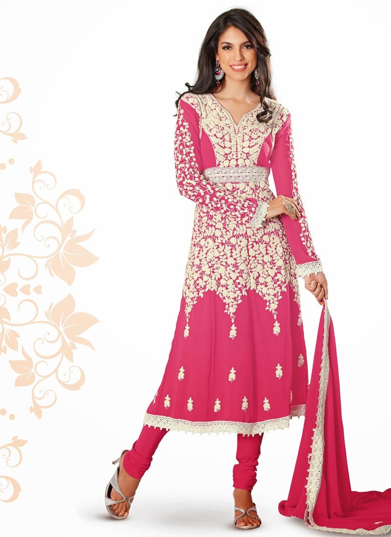 Splendid Rose Pink Color Party Wear Salwar Suit