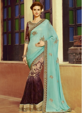 Splendid Sequins Work Net Half N Half Designer Saree