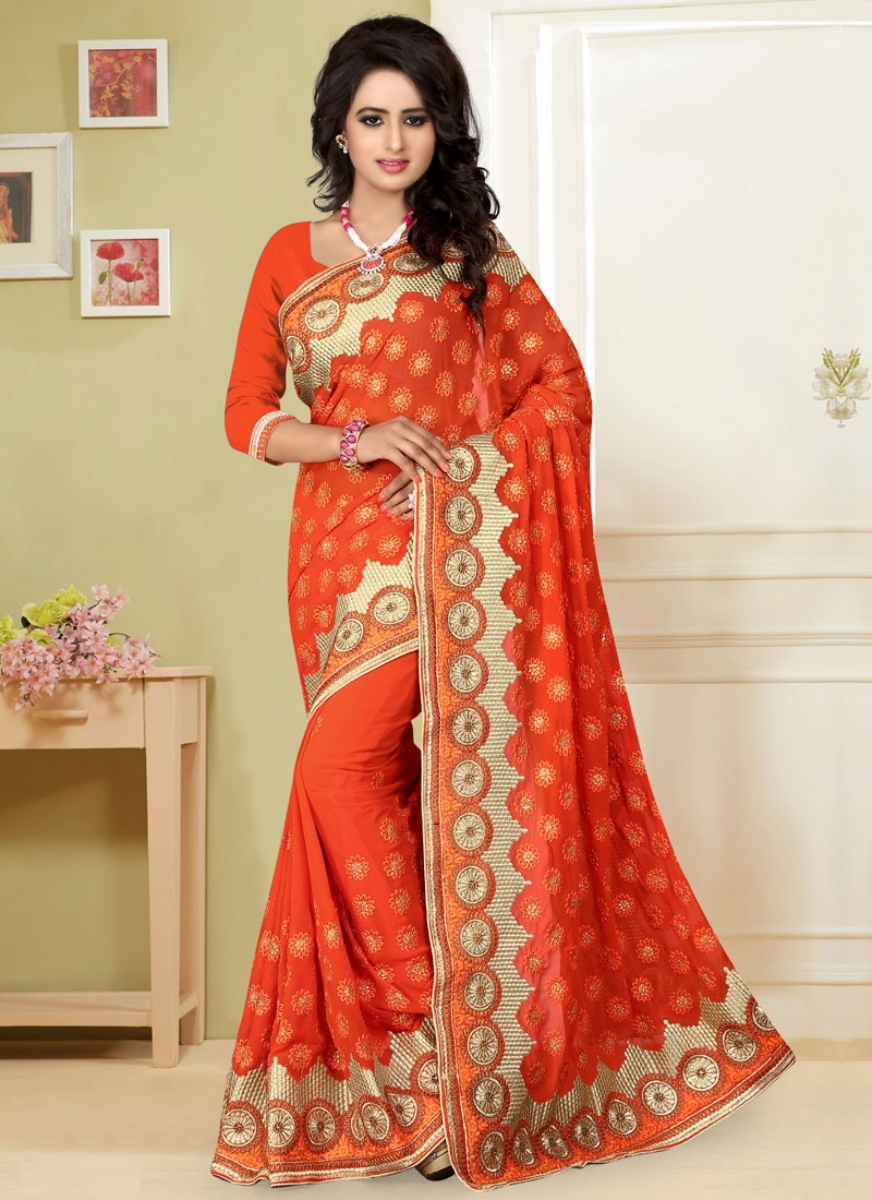Splendid Stone And Resham Work Wedding Saree