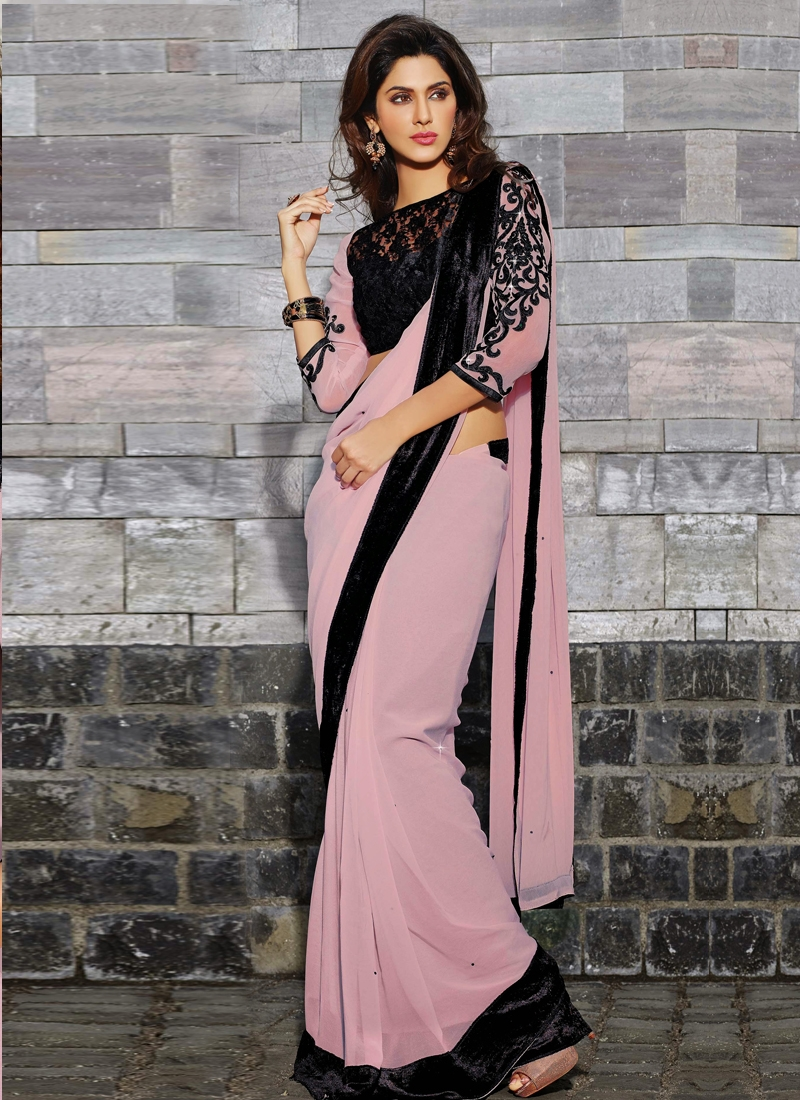 Splendid Velvet Patch Enhanced Casual Saree