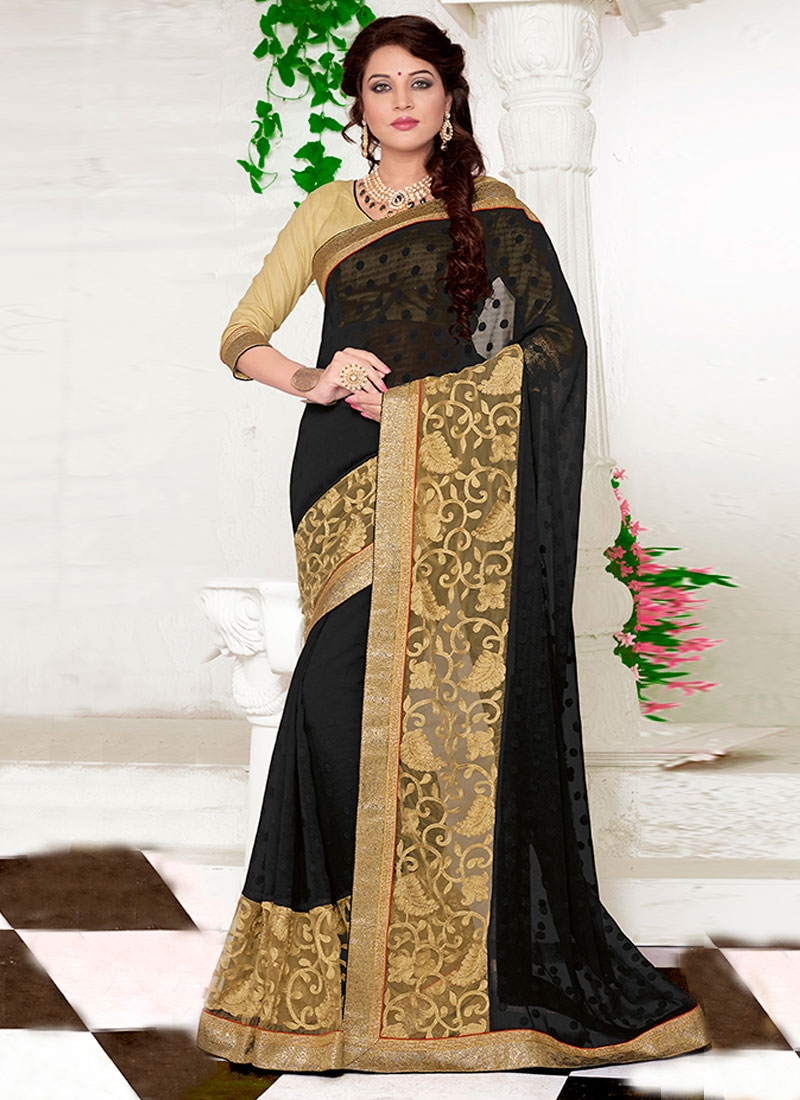 Staggering Black Color Jacquard Party Wear Saree