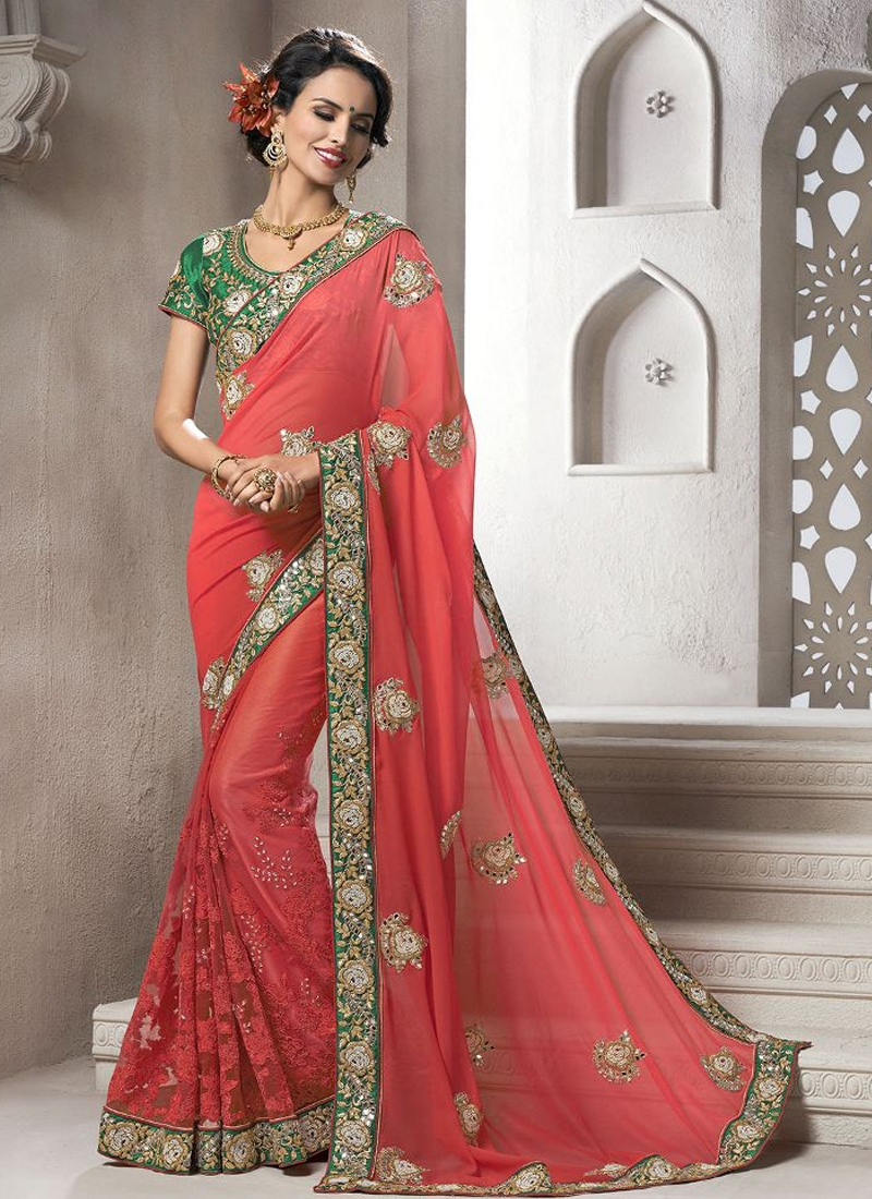 Staggering Booti And Lace Work Wedding Saree