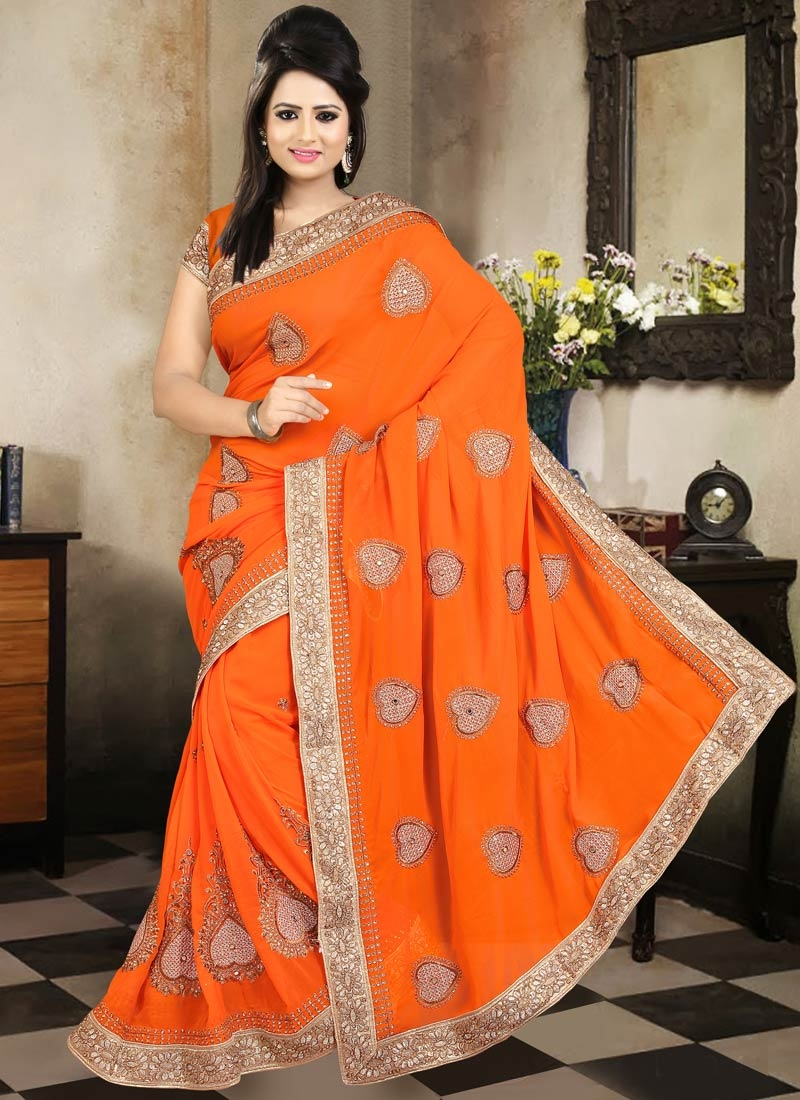 Staggering Booti And Resham Work Party Wear Saree