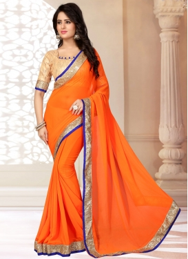 Staggering Coral Color Casual Saree