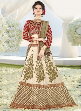 Staggering Cream and Red Booti Work Designer A Line Lehenga Choli For Ceremonial