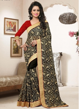 Staggering Embroidered Work Trendy Saree For Festival