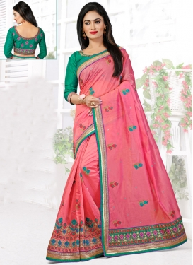 Staggering Embroidery And Stone Work Designer Saree