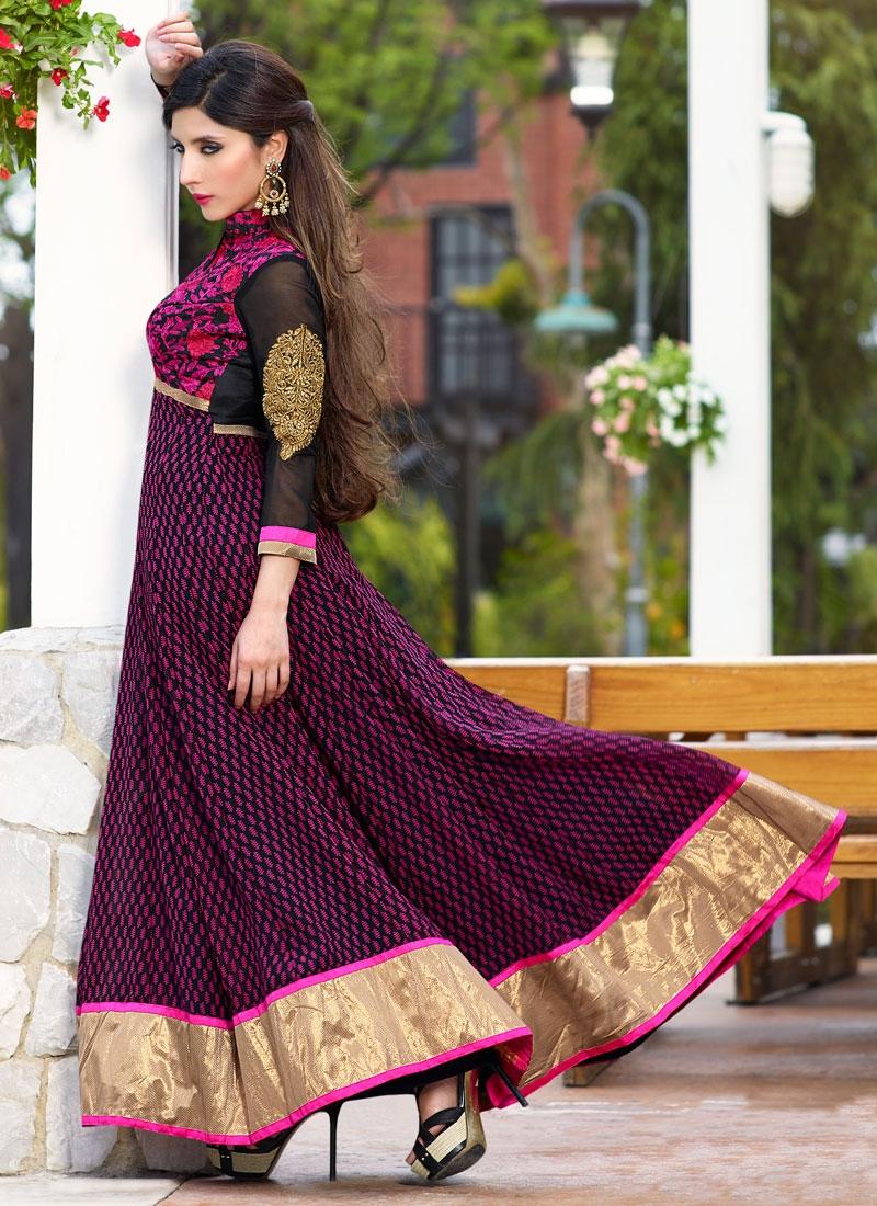 Staggering Embroidery Work Long Length Anarkali Salwar Kameez