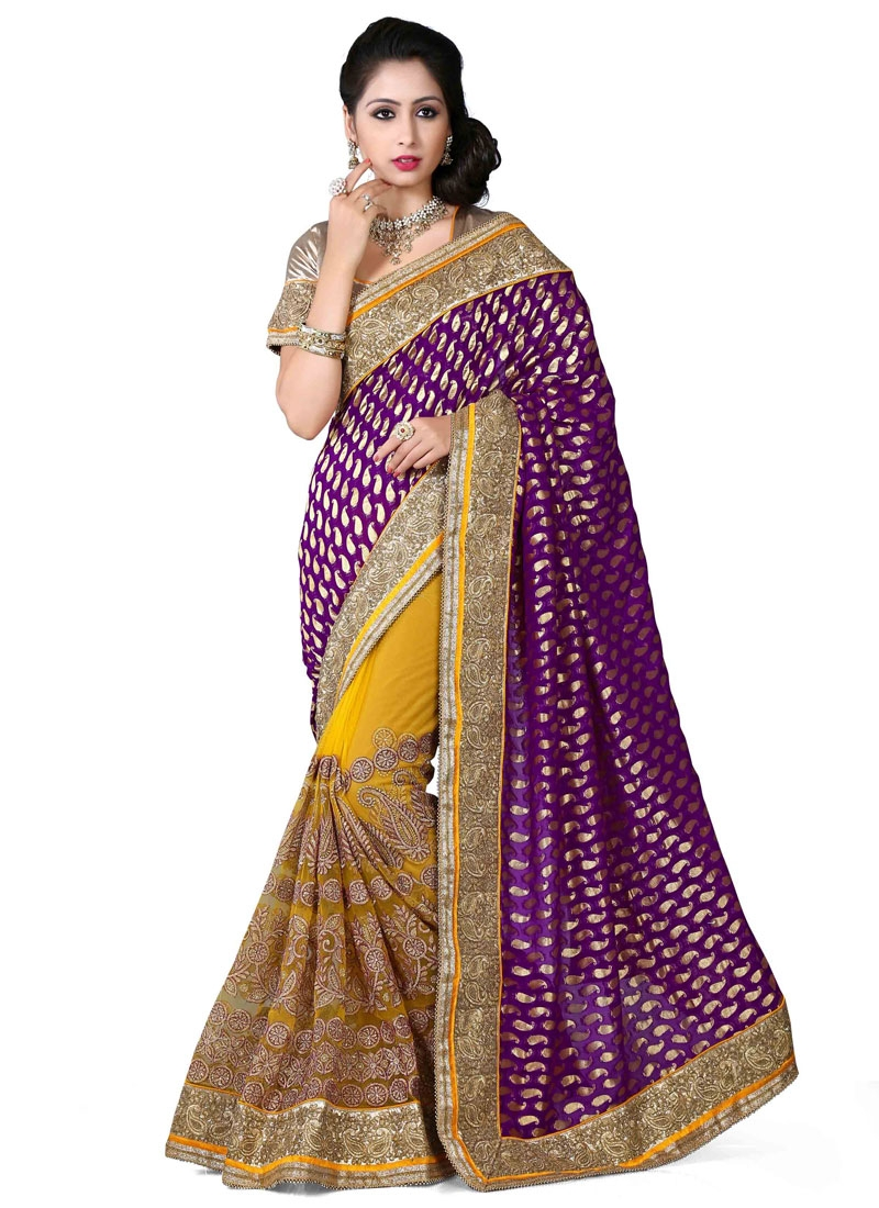 Staggering Embroidery Work Viscose Half N Half Wedding Saree
