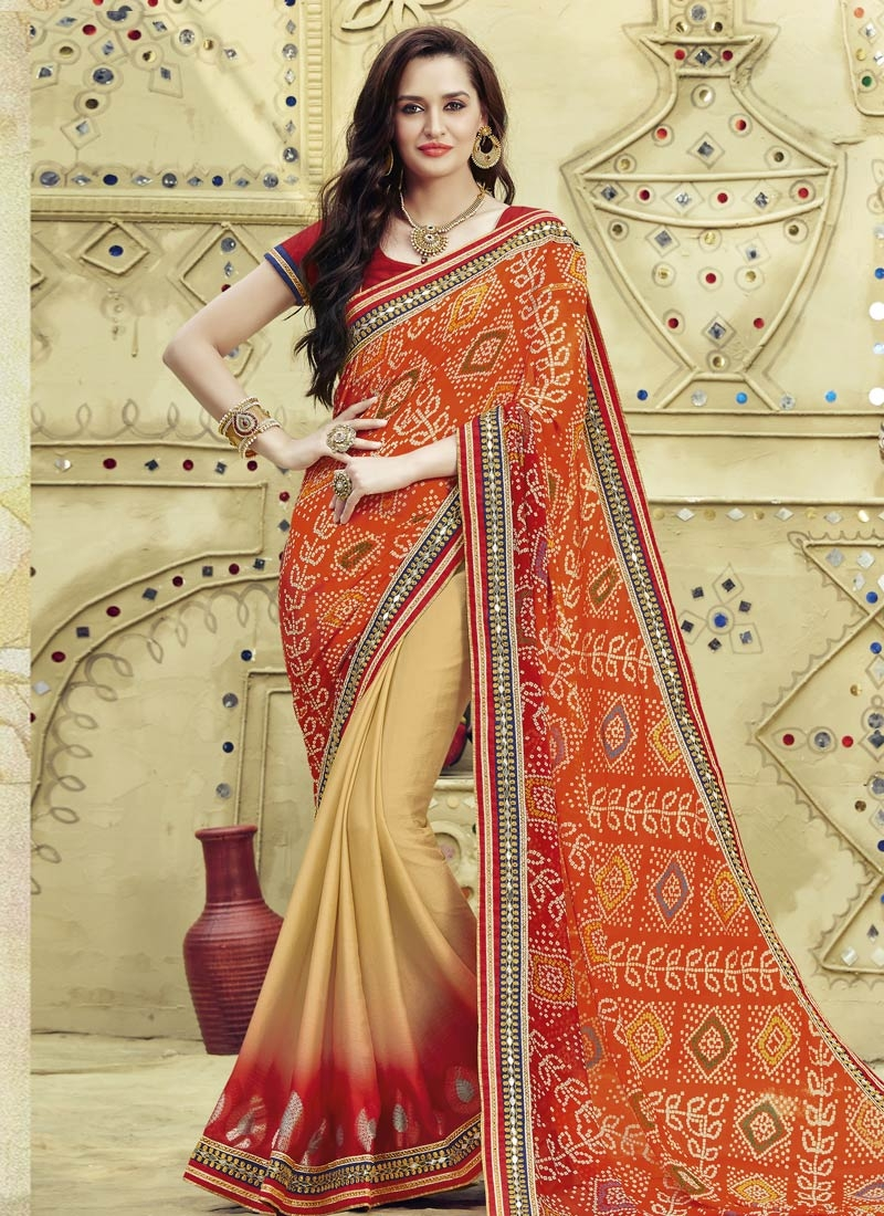 Staggering Faux Chiffon Lace Work Half N Half Party Wear Saree