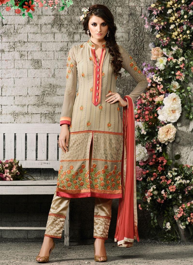 Staggering Faux Georgette Pant Style Designer Salwar Suit