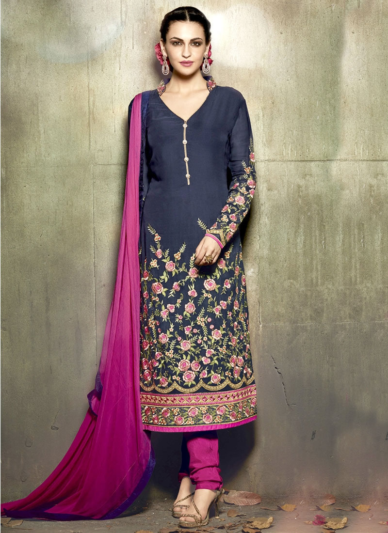 Staggering Floral Work Pakistani Salwar Suit