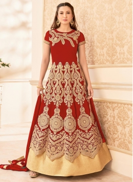 Staggering Gauhar Khan Booti Work Floor Length Anarkali Suit