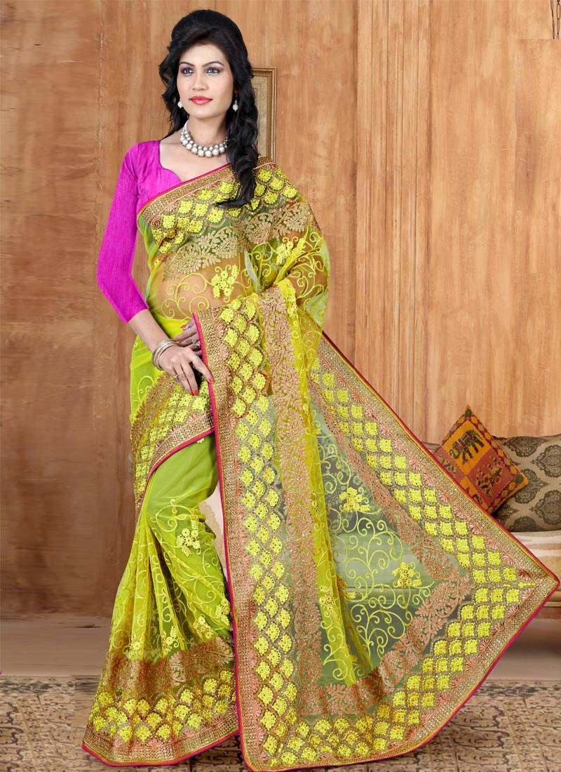 Staggering Lace And Stone Work Wedding Saree