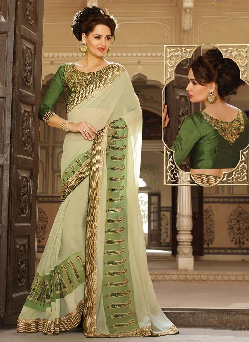 Staggering Lace Work Party Wear Saree