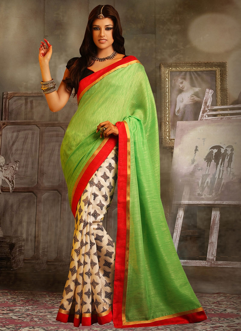 Staggering Mint Green Color Half N Half Casual Saree