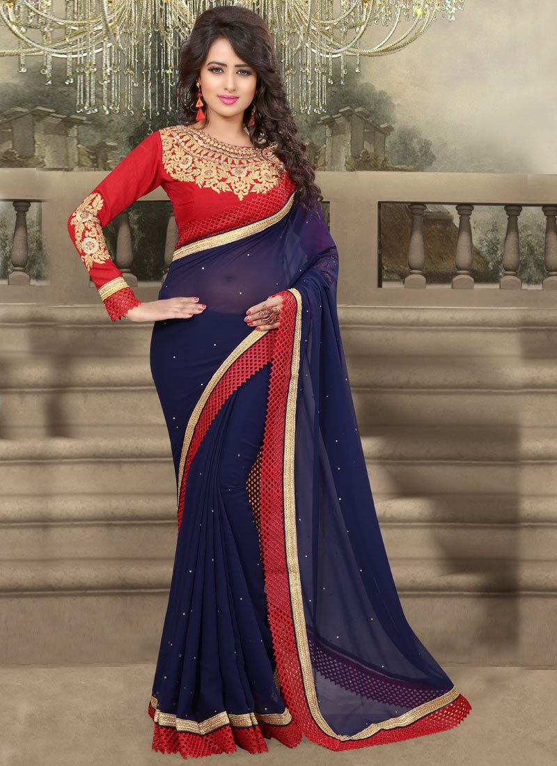 Staggering Navy Blue Color Lace Work Party Wear Saree
