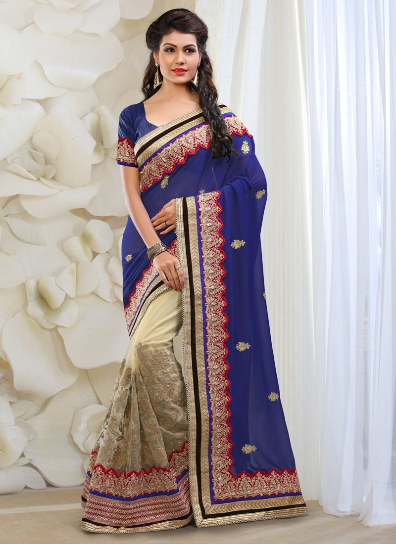 Staggering Patch Border Work Half N Half Bridal Saree