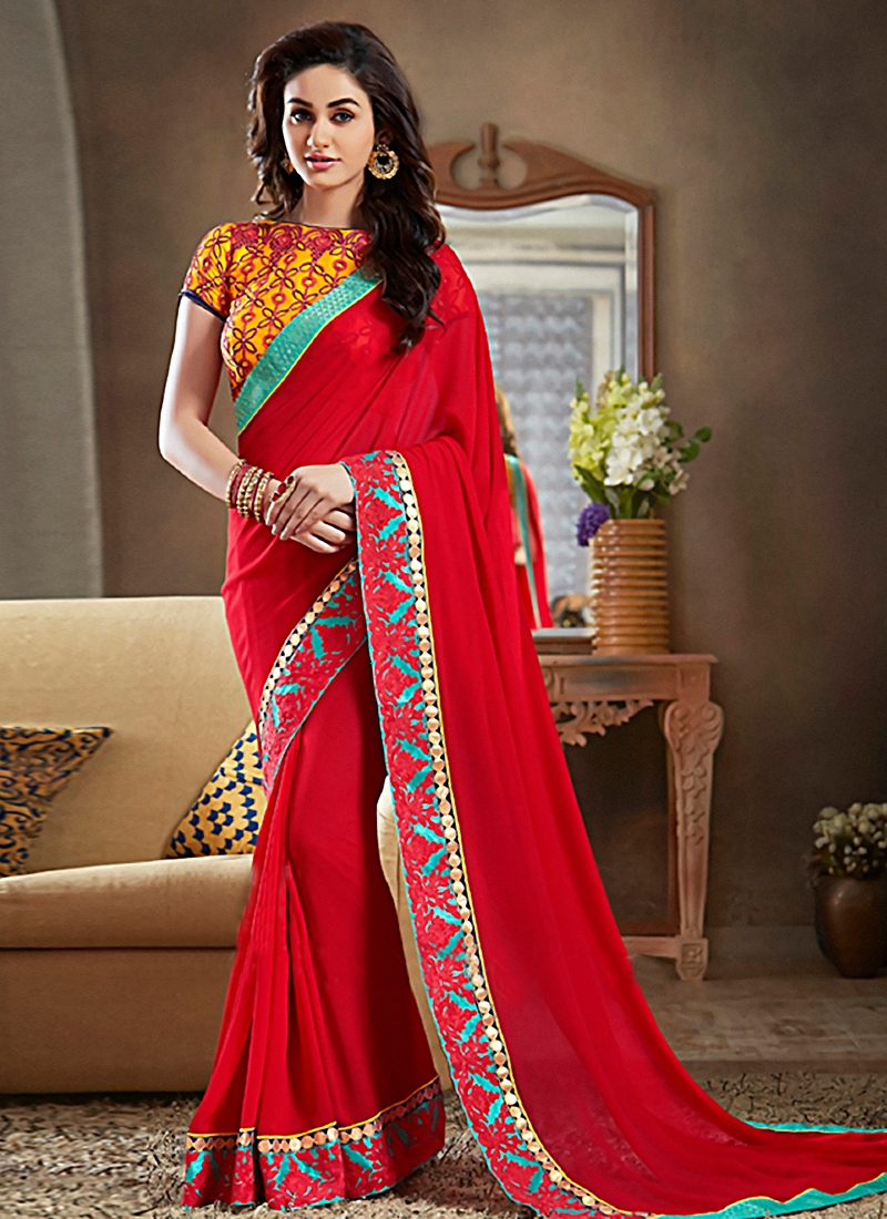 Staggering Red Color Lace Work Party Wear Saree