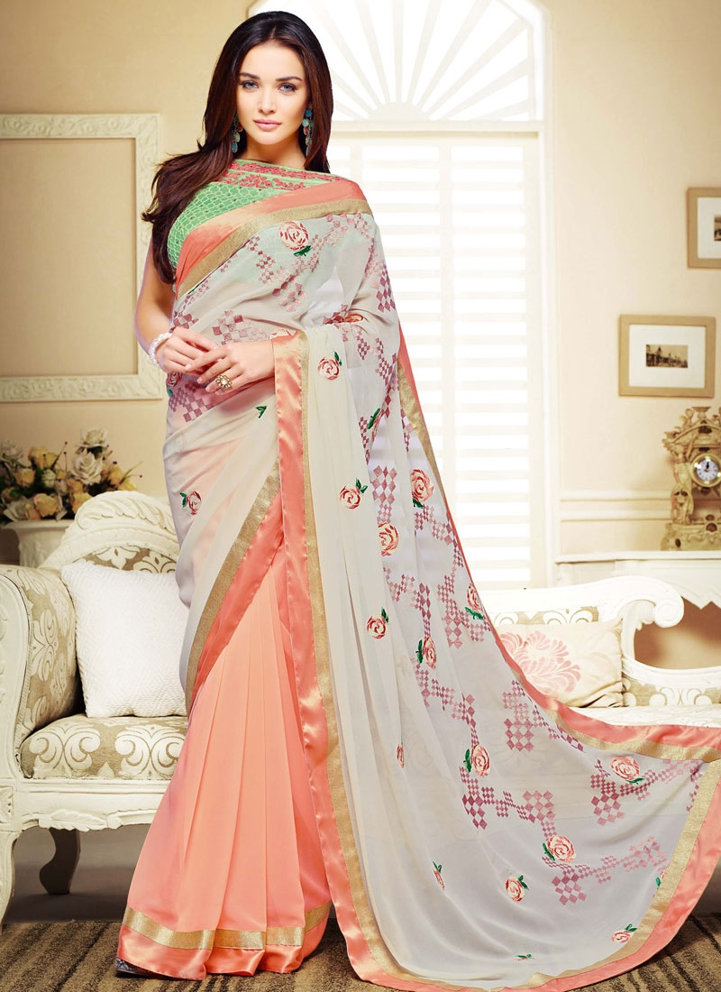 Staggering Resham Work Amy Jackson Half N Half Party Wear Saree