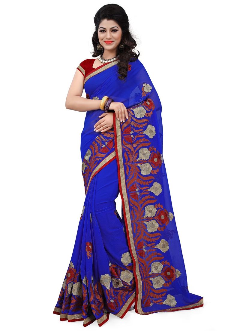 Staggering Resham Work Blue Color Party Wear Saree