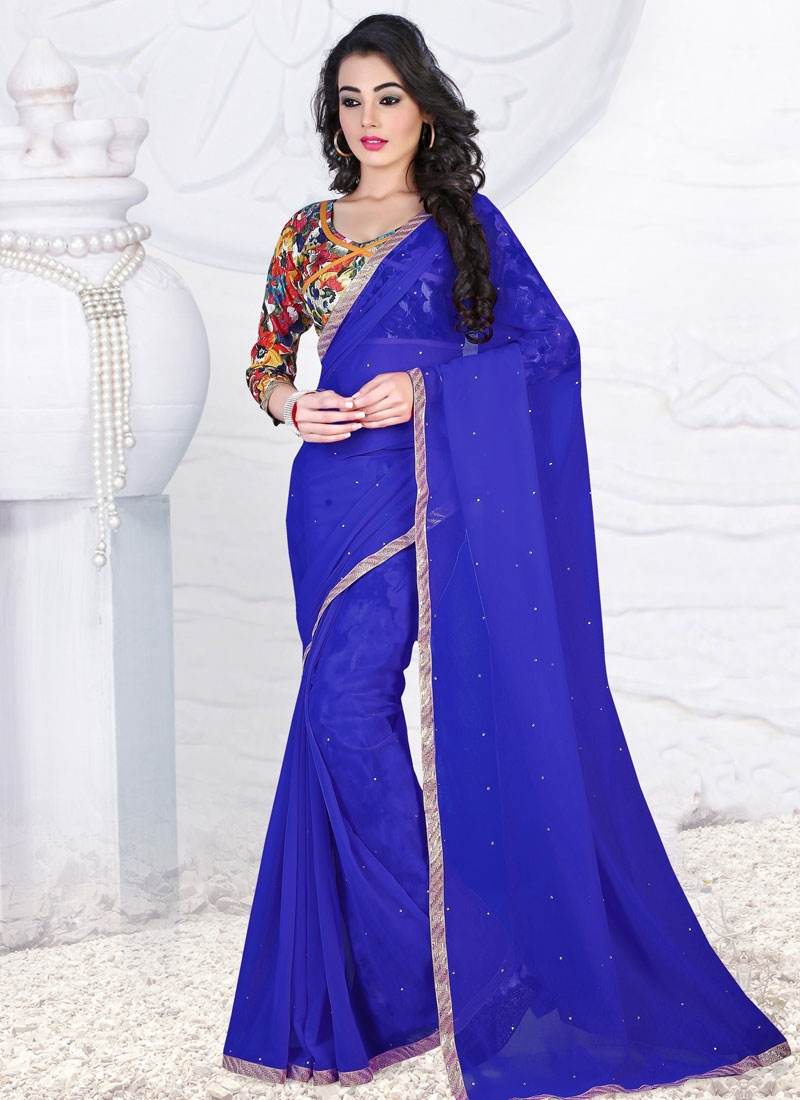 Staggering Resham Work Faux Georgette Casual Saree
