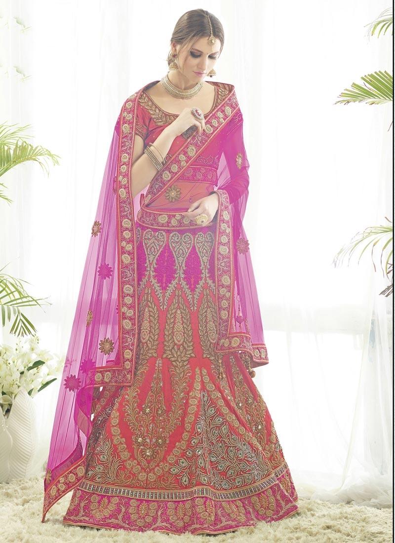 Staggering Rose Pink and Tomato Silk Designer Long Choli Lehenga