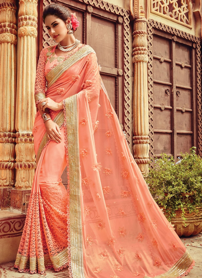 Staggering Sequins And Beads Work Wedding Saree