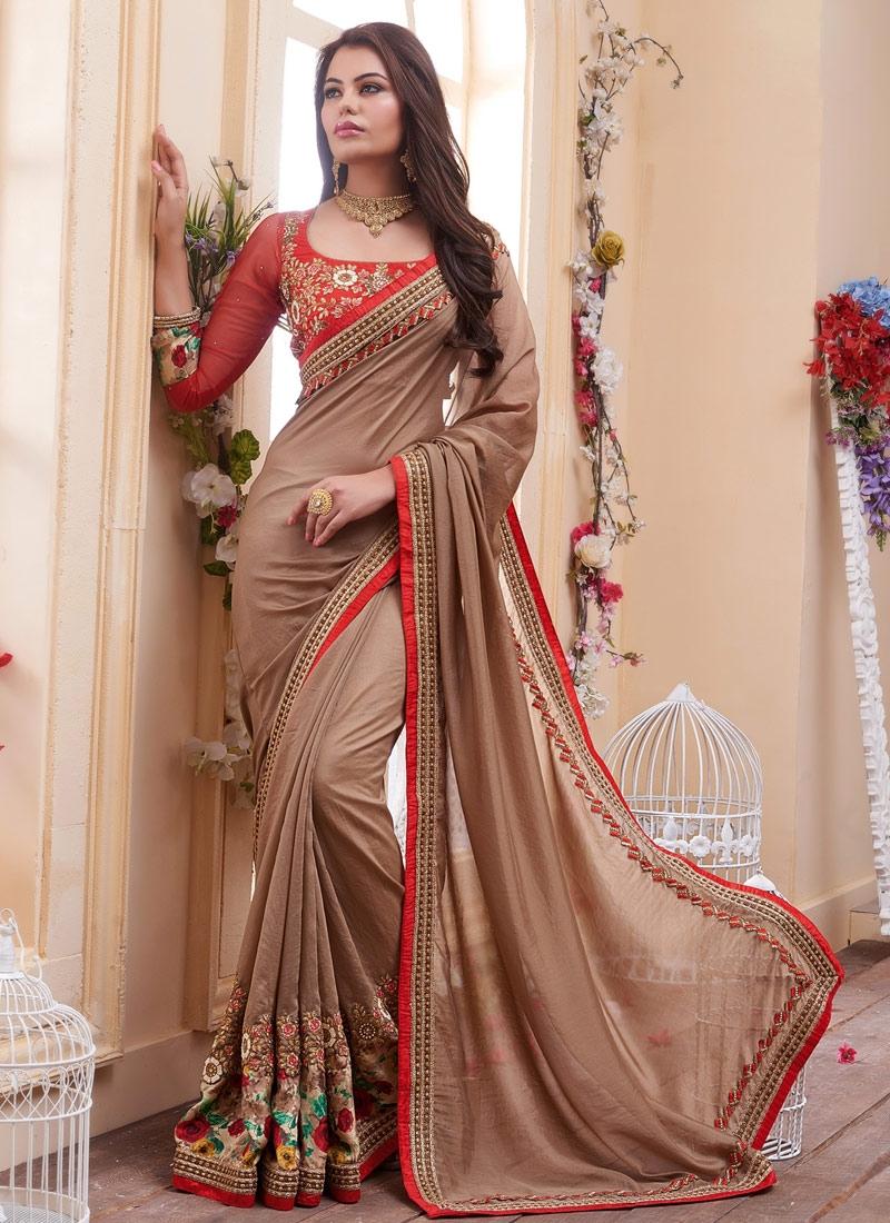 Staggering Sequins Work Fancy Fabric Designer Saree