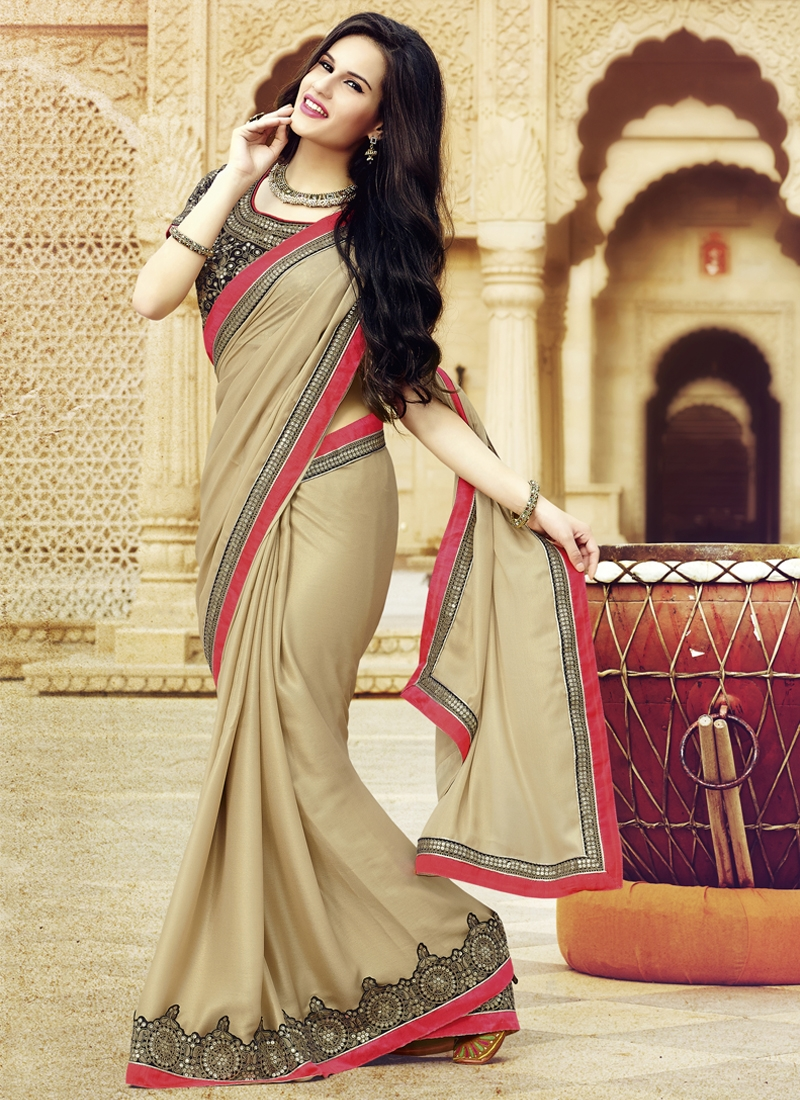 Staggering Sequins Work Faux Georgette Party Wear Saree