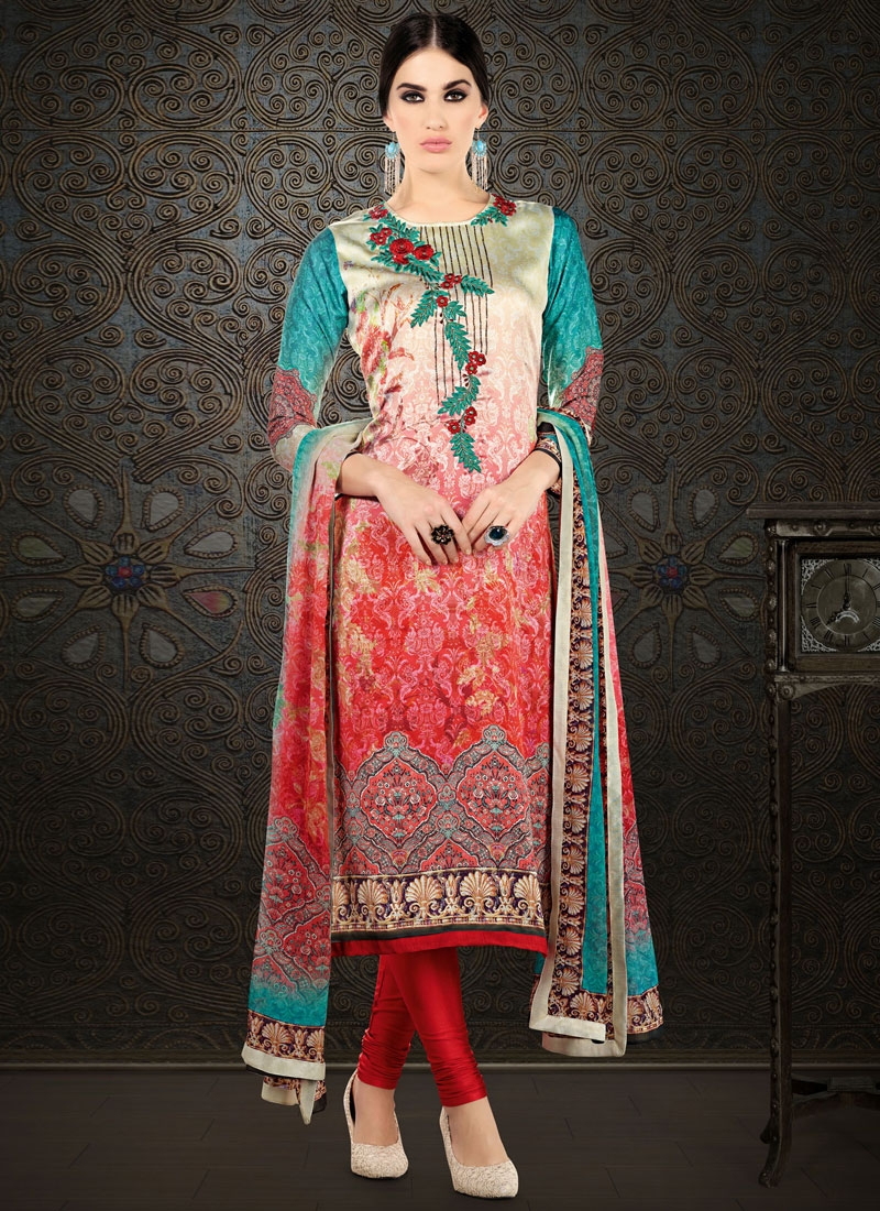 Staggering Stone And Digital Print Work Party Wear Salwar Suit