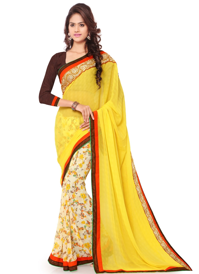Staggering Yellow And Cream Color Half N Half Casual Saree